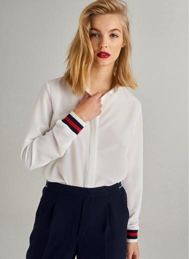 Monamoda Ex Kolu Ribanalı Gömlek Beyaz